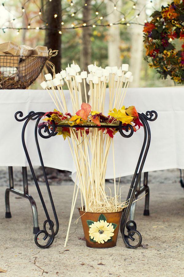 This was originally pinned as:Rustic Campground Wedding|Photo by: jayekogutphotography.com...but what a good idea for Fall or Thanksgiving...Fun!