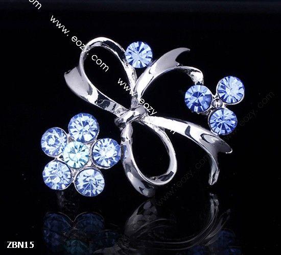 4x4cm Blue Noble Flower Bowknot Crystal Breastpin Hair Brooch Rhinestone  #eozy