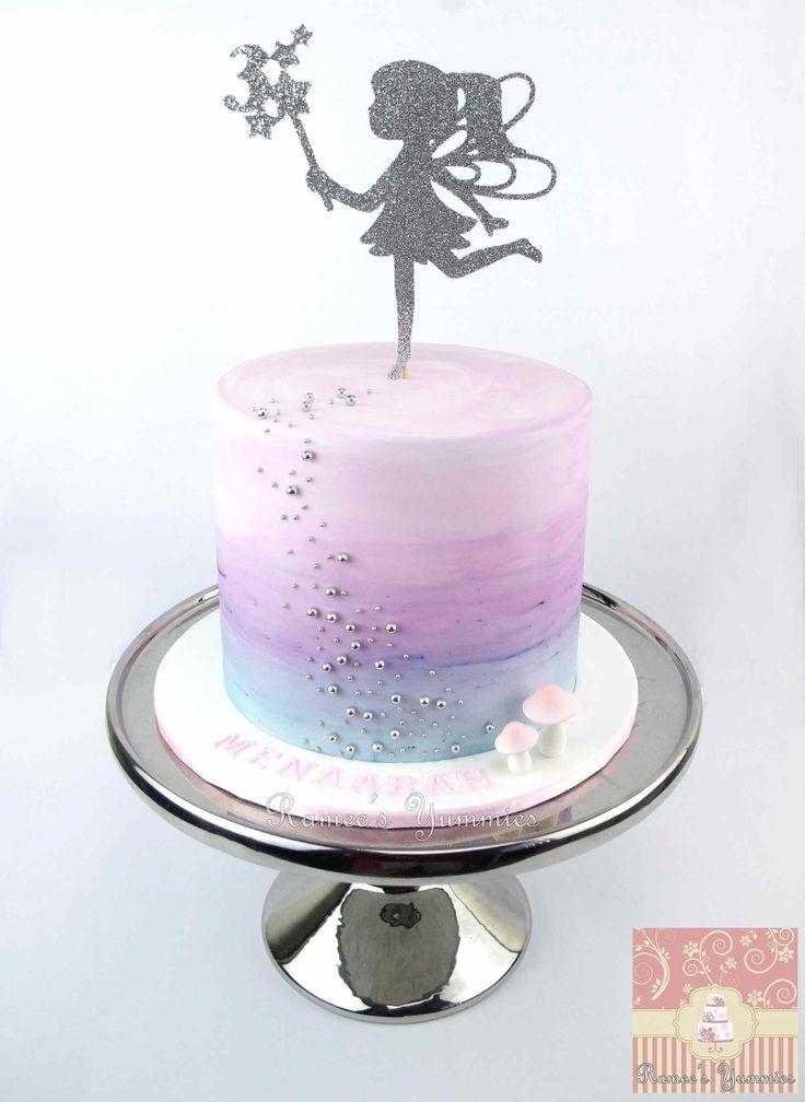 Fairy Birthday Cake with water colour effect.  www.rameesyummies.com.au www.facebook.com/rameesyummies