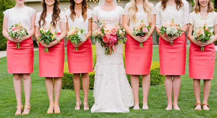coral bridesmaids dress coral bridesmaids skirts thanksgiving point summer garden wedding coral wedding flowers coral bouquets utah calie rose www.calierose.com