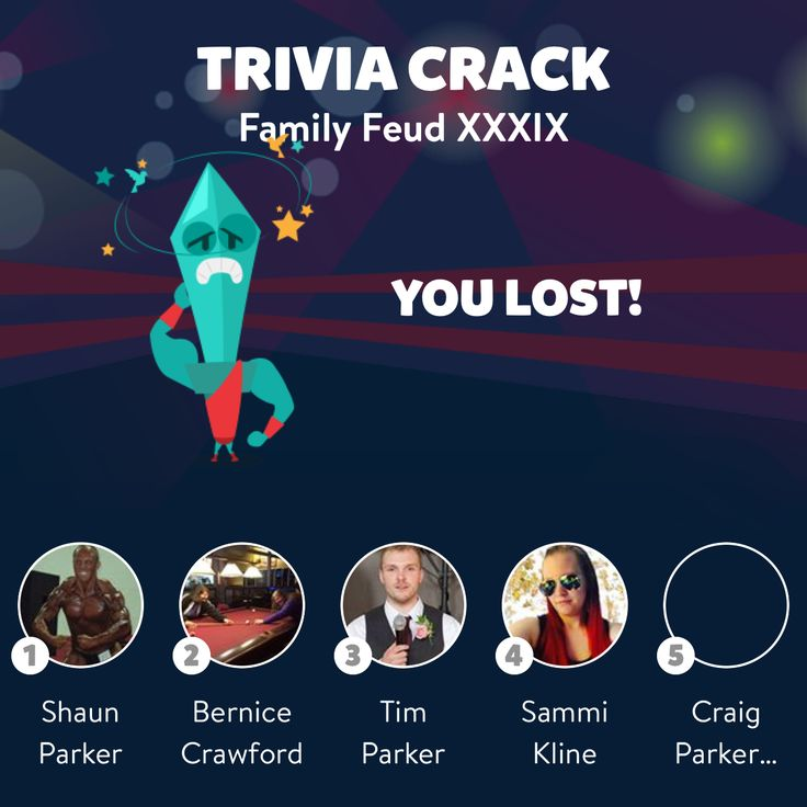 """Bernice Crawford just lost the friends challenge """"Family Feud XXXIX"""" in Trivia Crack"""