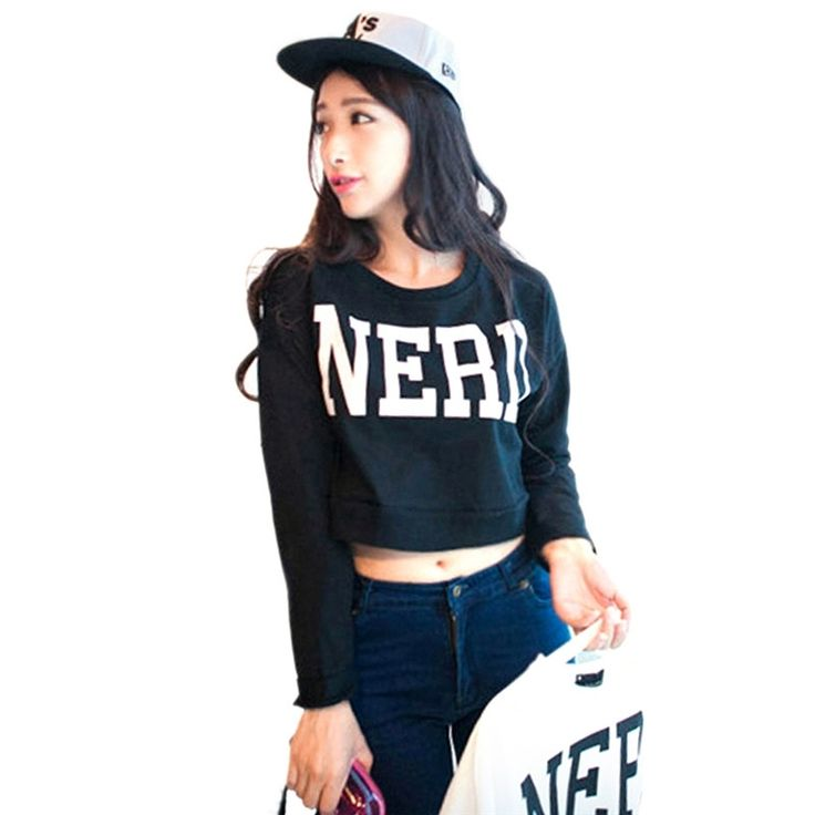 4.37$  Watch now - New Fashion Women Girls Cute Stylish Letter NERD Printed Hip-Hop Cropped Tops Long Sleeve   #magazine