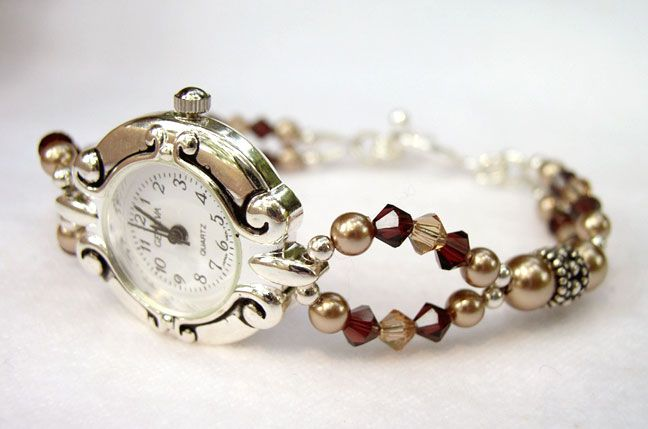 Beaded Watches: Swarovski Crystal Pearl Gemstone Bead Watch Bands