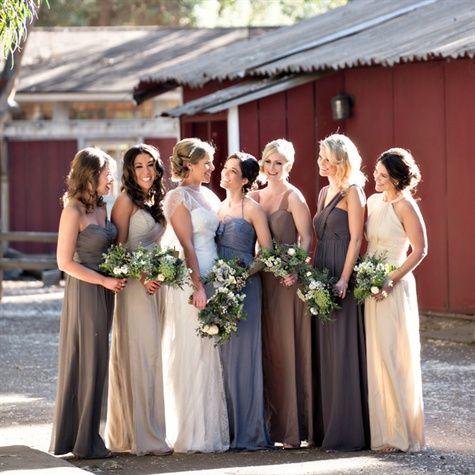 Long Earth Tone Bridesmaid Dresses | mix and match shades ...
