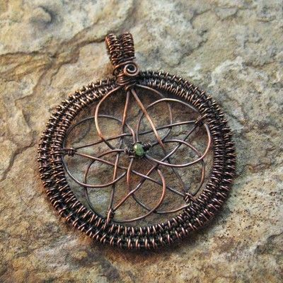 Wire Wrapped Celtic Knot Pentacle With Emerald Accent by Spiral Leaf Jewelry