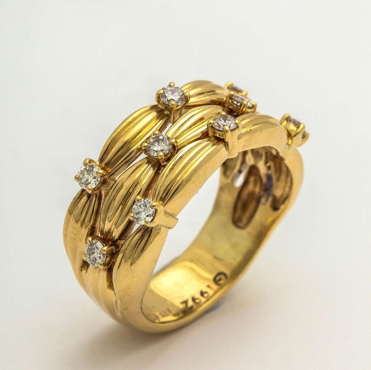 1990s Tiffany & Co. Diamond Textured Gold Three Row Band Ring | From a unique collection of vintage band rings at https://www.1stdibs.com/jewelry/rings/band-rings/