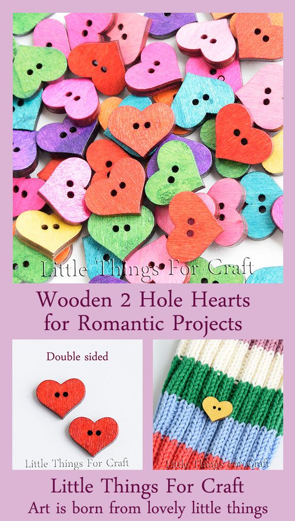 Decorative wooden heart shaped craft kids buttons