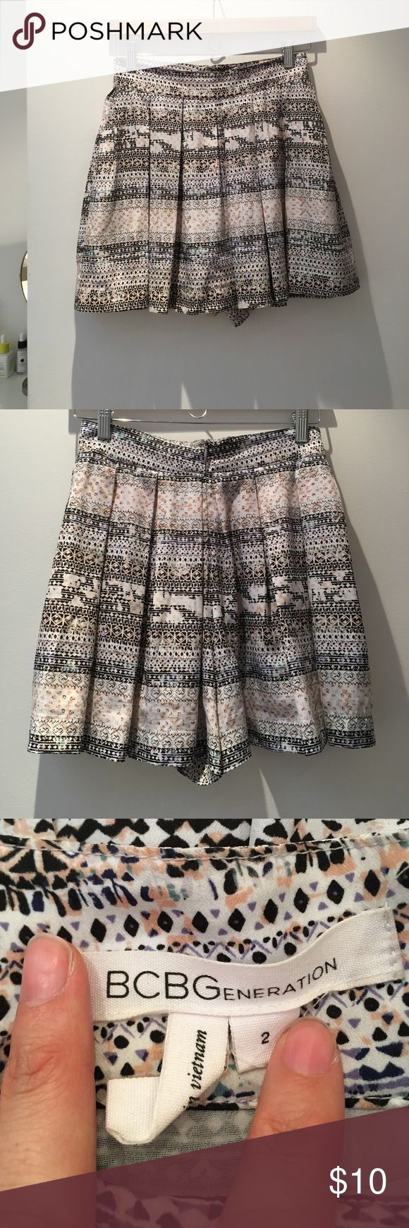 BCBGeneration | Pleated Shorts | Size 2 Cute BCBGeneration shorts. High waisted with pleats. Has pockets. Very flowy! Features a cute geometric print in pastel colors. BCBGeneration Shorts