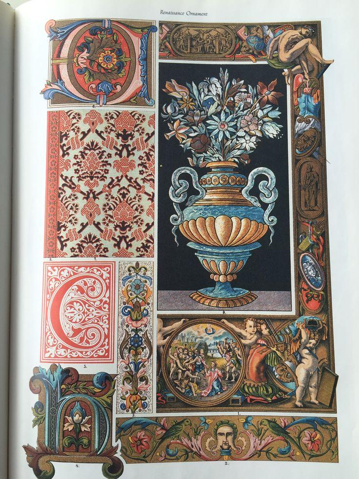 "Plate 5: Italian illumination, weaving and marble mosaic. 1-6: Paintings from manuscripts. 7: Velvet stuff. 8: Silk stuff border. 9: Marble mosaic. From The Library of Cambridge's ""Renaissance Ornament"" 1991."