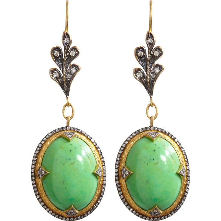 Cathy Waterman Gaspeite Micropave Diamond Drop Earrings 13 220 00 At Barneys