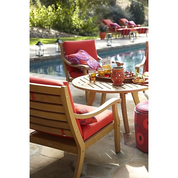 arbor lounge chair with sunbrella caliente cushion in arbor crate and barrel