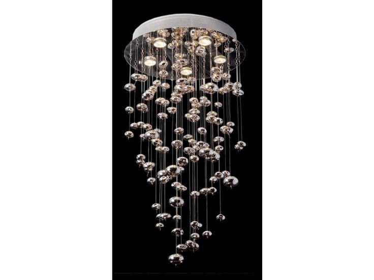 Lustre RAFAELO en métal chromé et verre mercurisé H.90cm