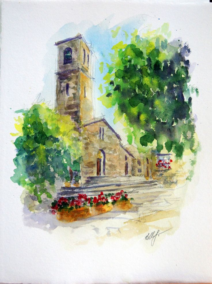 www.art-and-travel.ru Toscana. Radicofani. watercolor