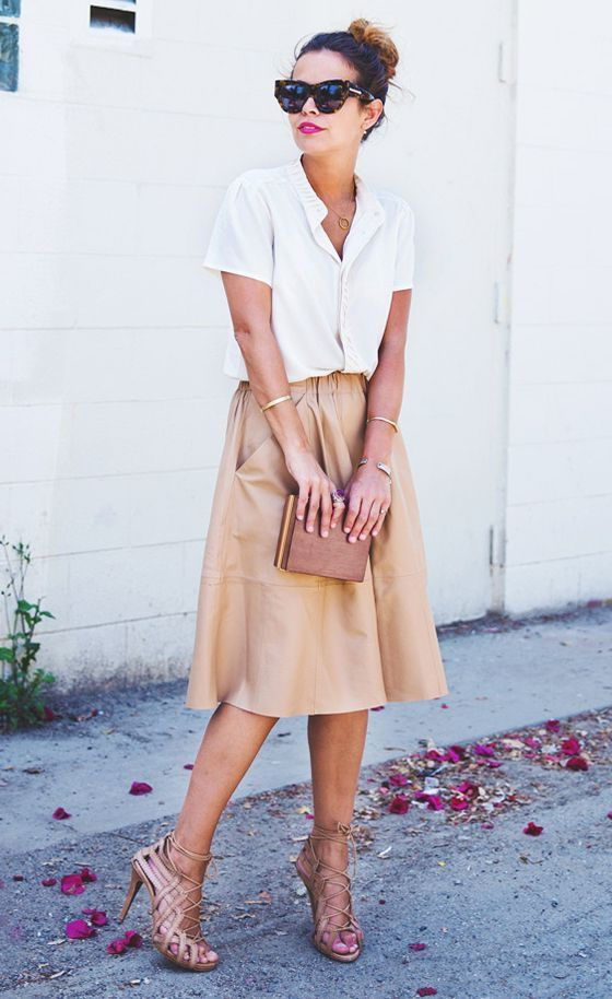Brown Leather Skirt 2017 Street Style