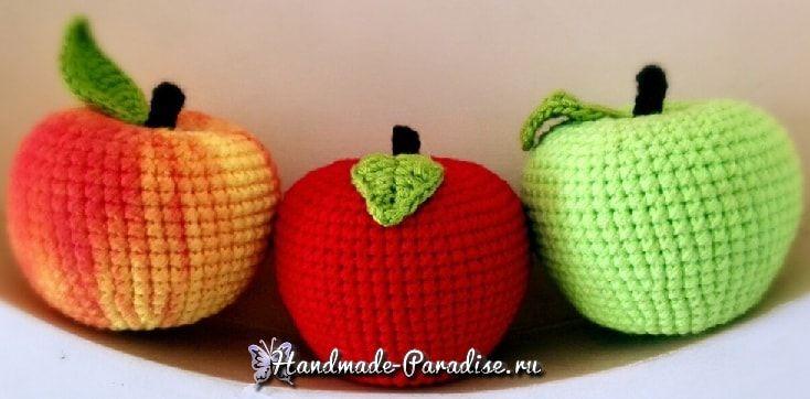 Вяжем яблочко крючком. Схема. Не хотитедополнитьдекоративные композиции в интерьере своего дома аппетитным яблочком из пряжи?