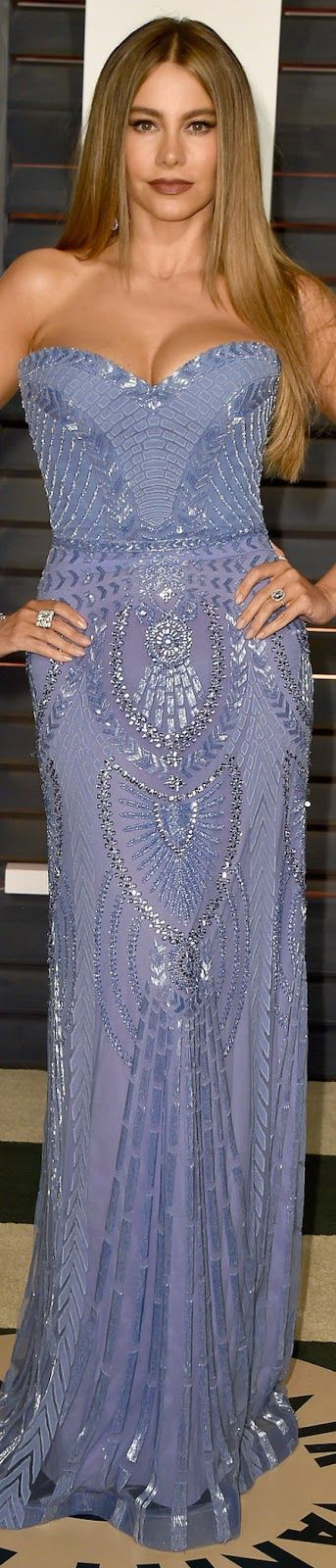 Zuhair Murad ~ Sofia Vergara 2015 Vanity Fair Oscar Party ~ lavender fashion dress