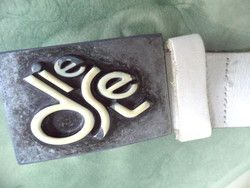 """New Listing Started Vintage DIESEL white leather Belt 38"""" Enameled Silver Buckle small medium women C$85.00"""