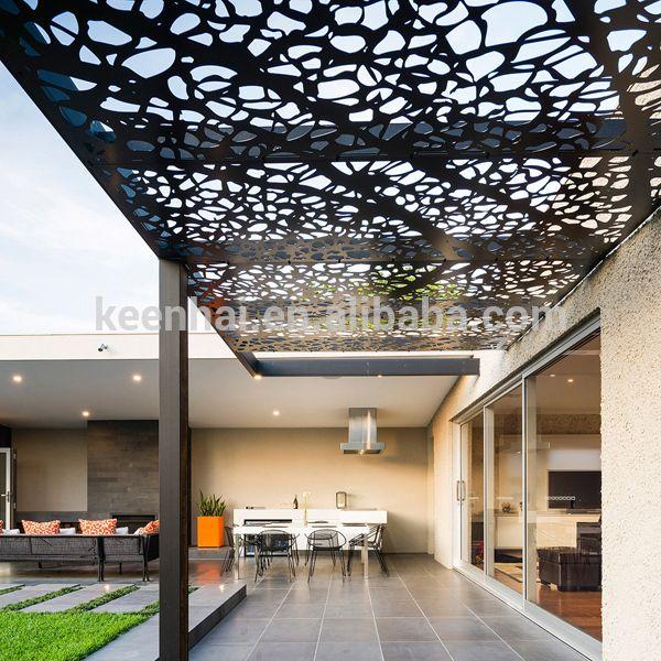 Outdoor corte laser tallado decorativo panel de falso techo de aluminio perforado