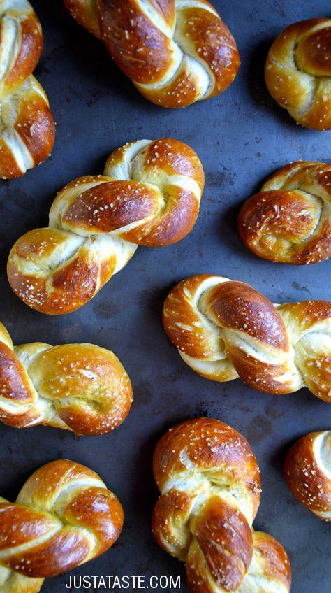 Homemade Soft Pretzel Twists recipe via justataste.com