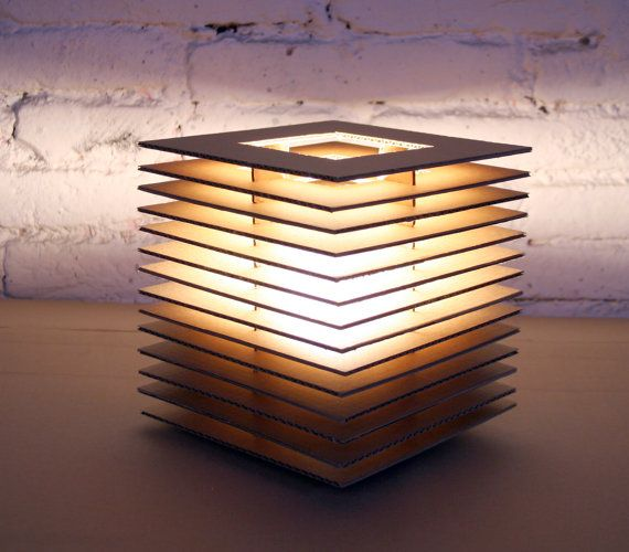 Cubic cardboard lamp by edlamps on etsy