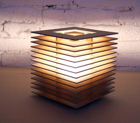 Cubic Cardboard Lamp, via Etsy.