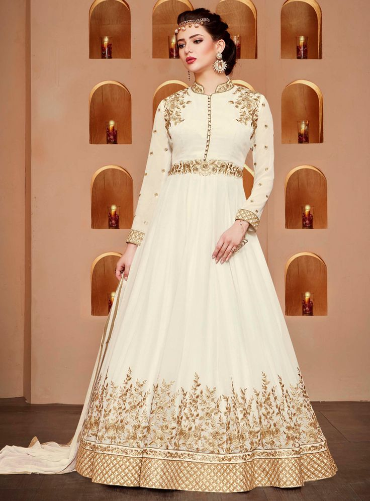 White Georgette Floor Length Anarkali Suit 96212