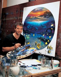 """Wyland...(1956-).  The world's premier ocean and marine-life artist.  He is a painter, sculptor, muralist and writer.  He has produced many giant landmark murals known as """"The Whaling Walls"""" throughout the world.  He is known as a maritime Michelango."""