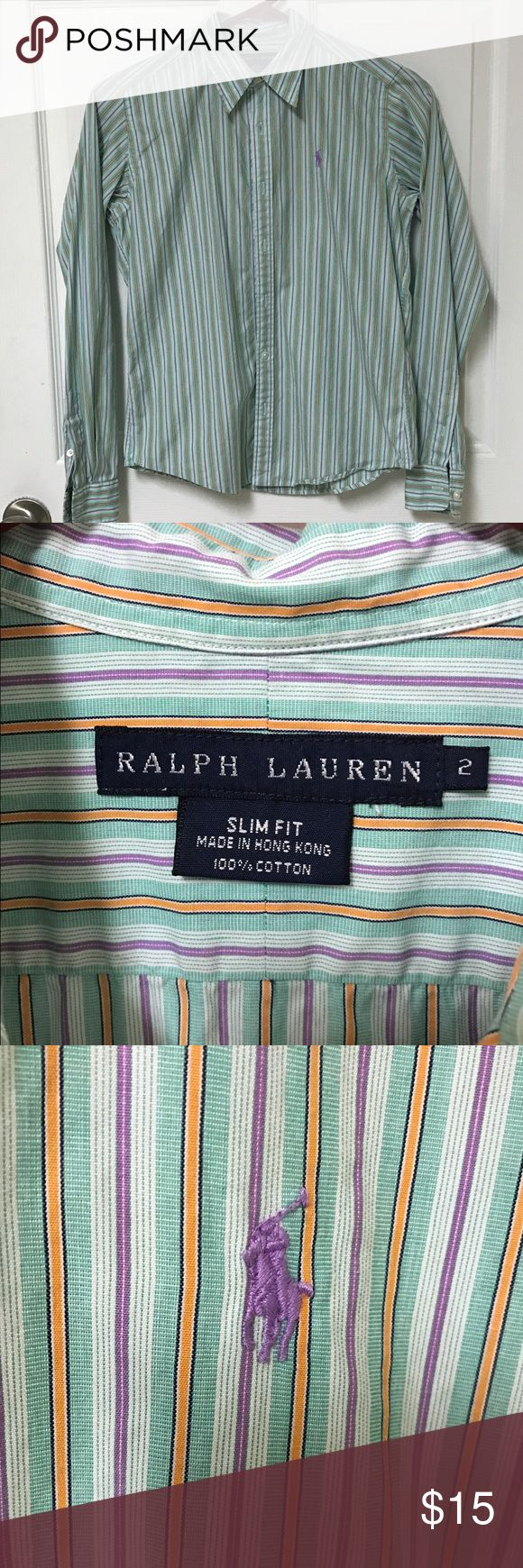 Polo collared shirt Polo striped collared shirt. Turquoise, purple, orange, white, navy stripes. Size 2 slim fit. Very well taken care of. (Check out my other listings for the matching Polo crew neck sweater). No trade. Polo by Ralph Lauren Tops Button Down Shirts