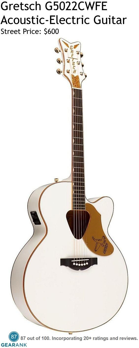 Gretsch G5022CWFE Acoustic-Electric Guitar. t has a solid spruce top with laminated mahogany back and sides, mahogany neck and rosewood fingerboard. It also comes with a Fishman Sonicore undersaddle pickup and Isys+ preamp.  For a detailed Guide to Acoustic Guitars Under $2000 see https://www.gearank.com/guides/acoustic-guitars