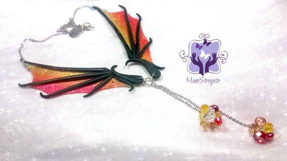 dragon's wings necklace polymer clay handmade by manistregate