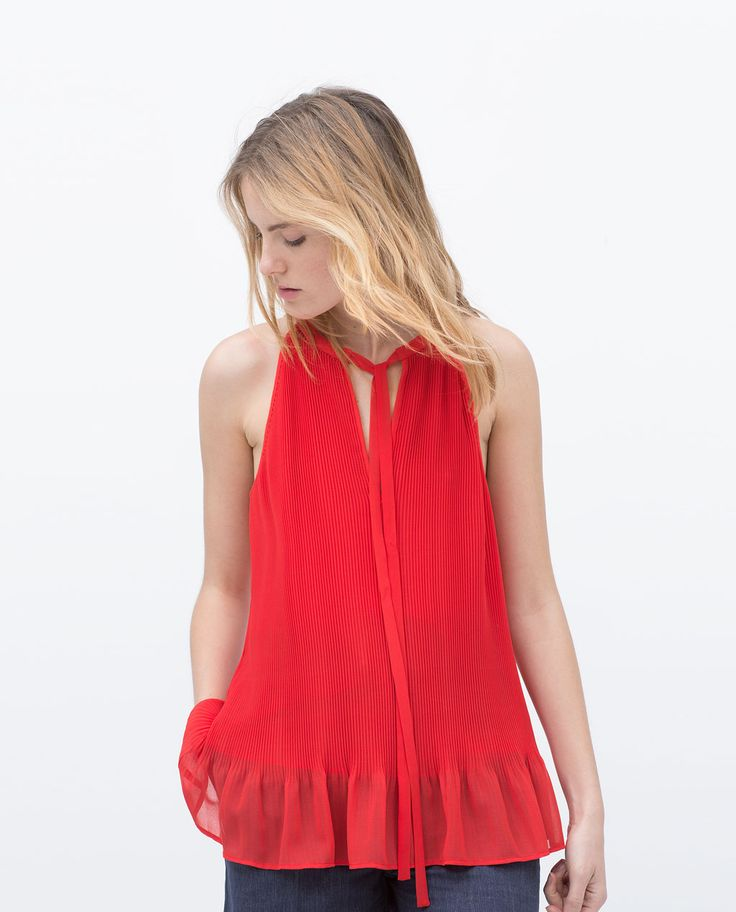 ZARA - WOMAN - HALTER NECK PLEATED BLOUSE