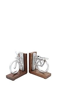 PEWTER BICYCLE BOOKENDS