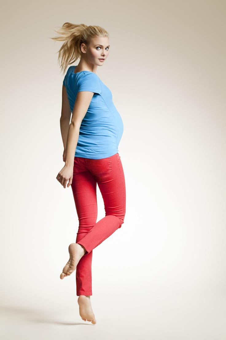 Skinny colour maternity jeans - red goes with just about everything