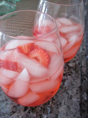 white strawberry sangria - white wine, strawberry schnapps, fresh strawberries