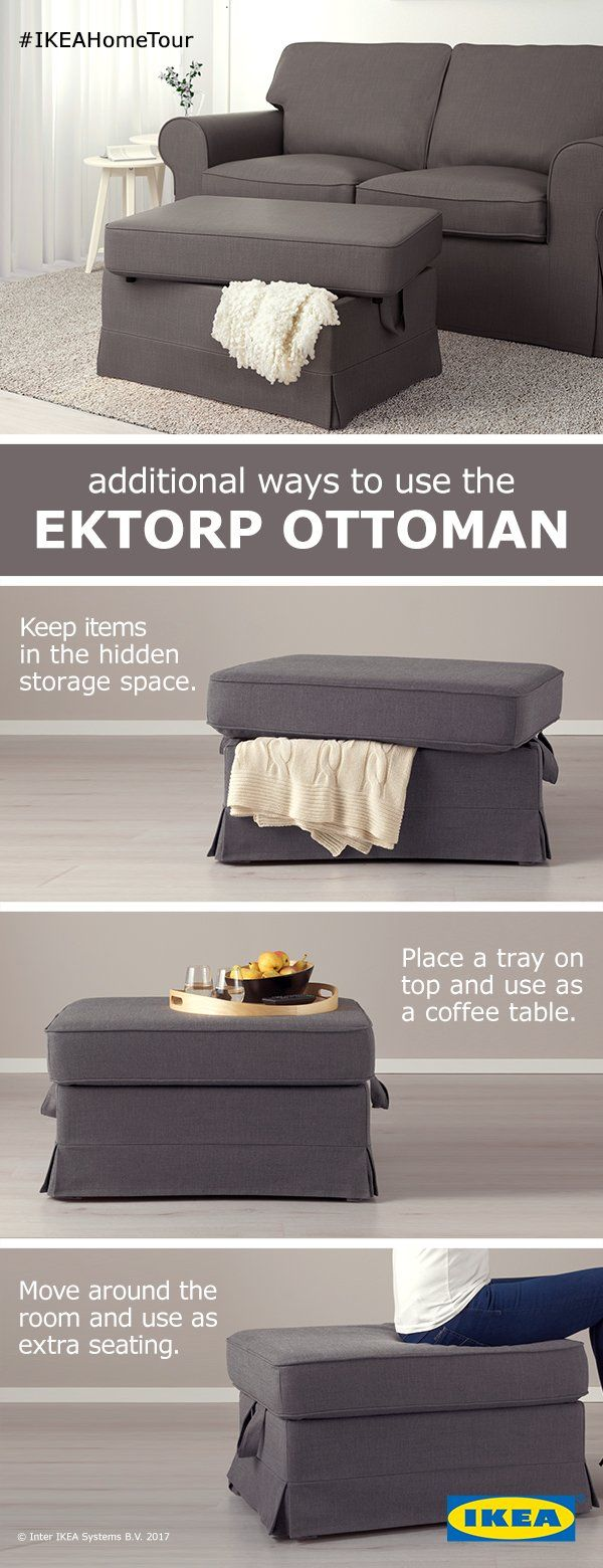 Whether you're hosting or lounging, the EKTORP ottoman has ample storage or seating for any occasion.