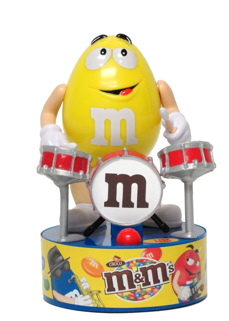 All M M Candy Characters | 12638 M&M Rock Star Yellow Drum Set (no box).jpg | CandyRific