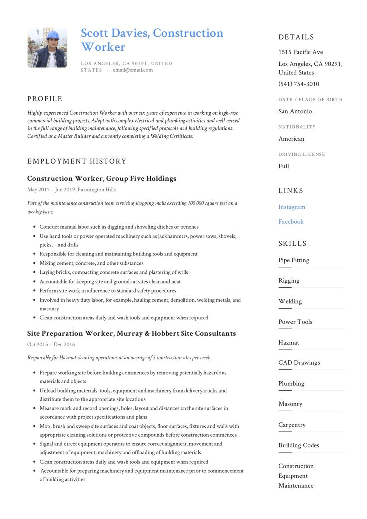 Construction Worker Resume & Writing Guide in 2020