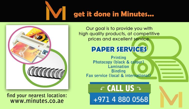 Minutes also offers paper services such as lamination & binding, business card printing, photocopy services, pring and binding services in Dubai & Sharjah UAE.