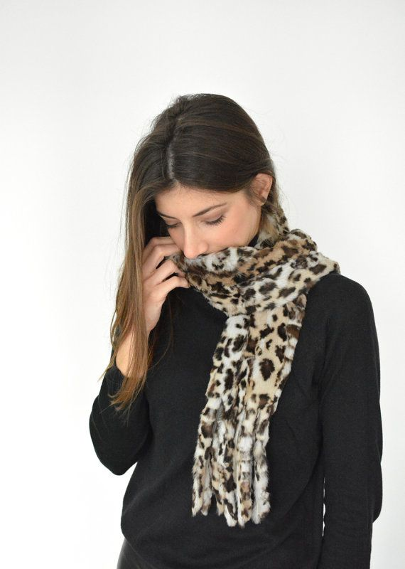 Women's Handmade Leopard Fur scarf made with Rabbit by lefushop