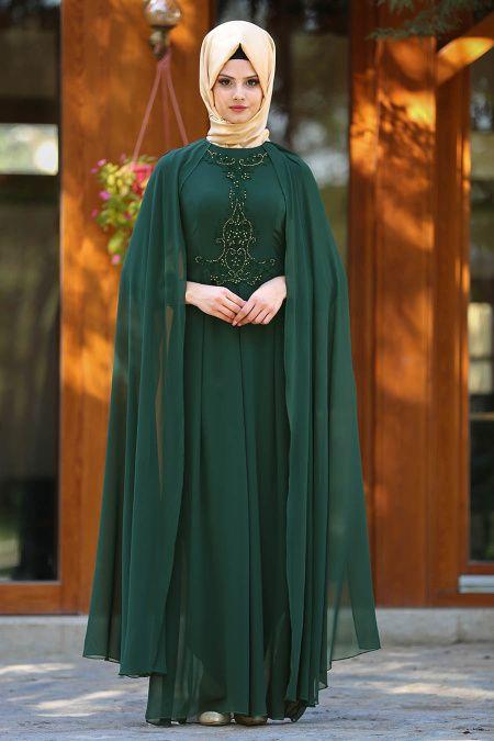 f9789528dfd26 Neva Style - Taşlı Yeşil Tesettür Abiye Elbise 25617Y | hijabi ...