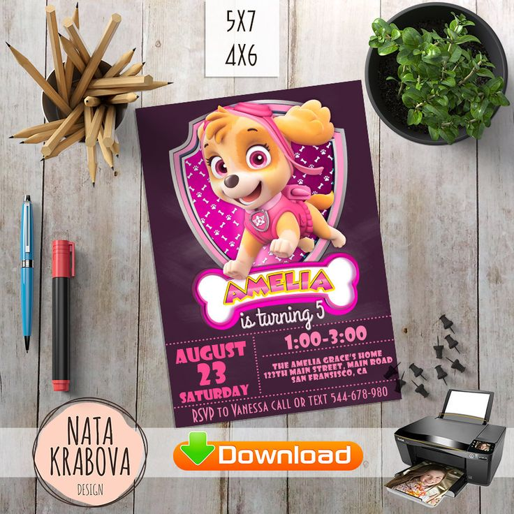 Buy it now and get free file with thanks card   Pink Paw patrol invitation. Skye Paw Patrol Party Supplies, Paw patrol birthday invitation. Paw Patrol birthday party. Paw Patrol Invite by DigitalCakePrint on Etsy