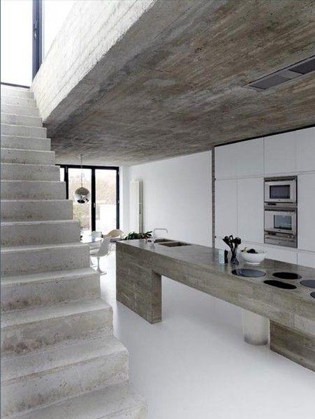 concrete kitchen with white