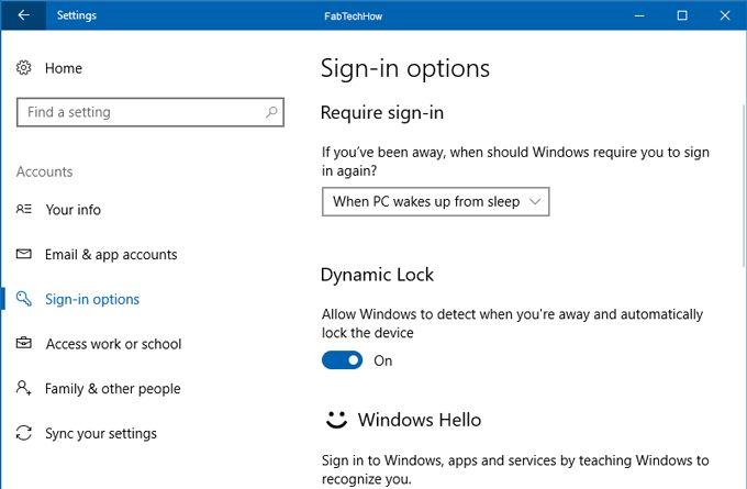 Setup Dynamic Lock in Windows 10