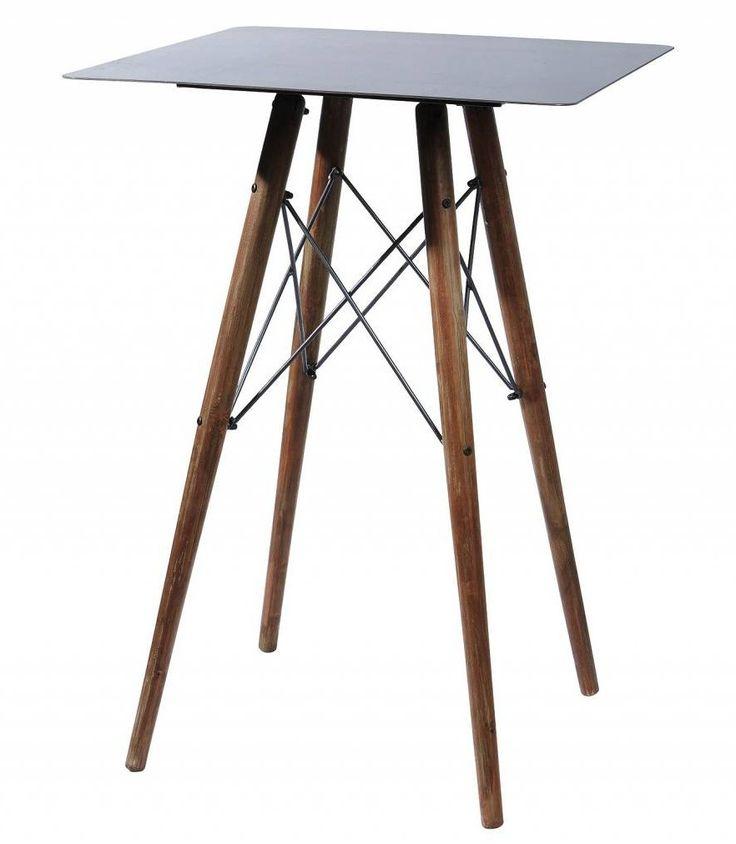 table haute de bar style usine en bois et metal noir ajustable