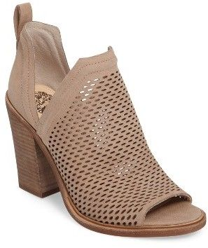 leather bootie features a peep toe, perforated upper and side panels that dip low for an airy spring look. Women's Vince Camuto Kensa Peep Toe Bootie