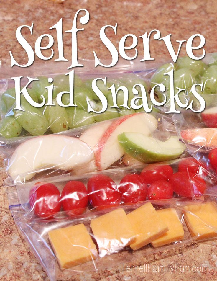 Self Serve Healthy Kid Snacks. Make a bunch of these and put them in easy reach so when kids are home alone after school, they have something healthy to snack on.