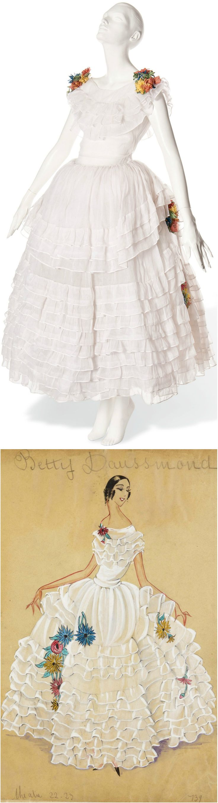 A JEANNE LANVIN ROBE DE STYLE OF WHITE ORGANZA, UNLABELLED, CIRCA 1922-3, sold by Christie's in November 2012. The dress with wide, panniered skirts and simple bodice trimmed with a posy of silk flowers. Illustrated here by a gouache from Lanvin's daybook for 1922-1923 courtesy of Archives Lanvin, inscribed with the name of 'Betty Daussemond', noted actress of the 1920s.