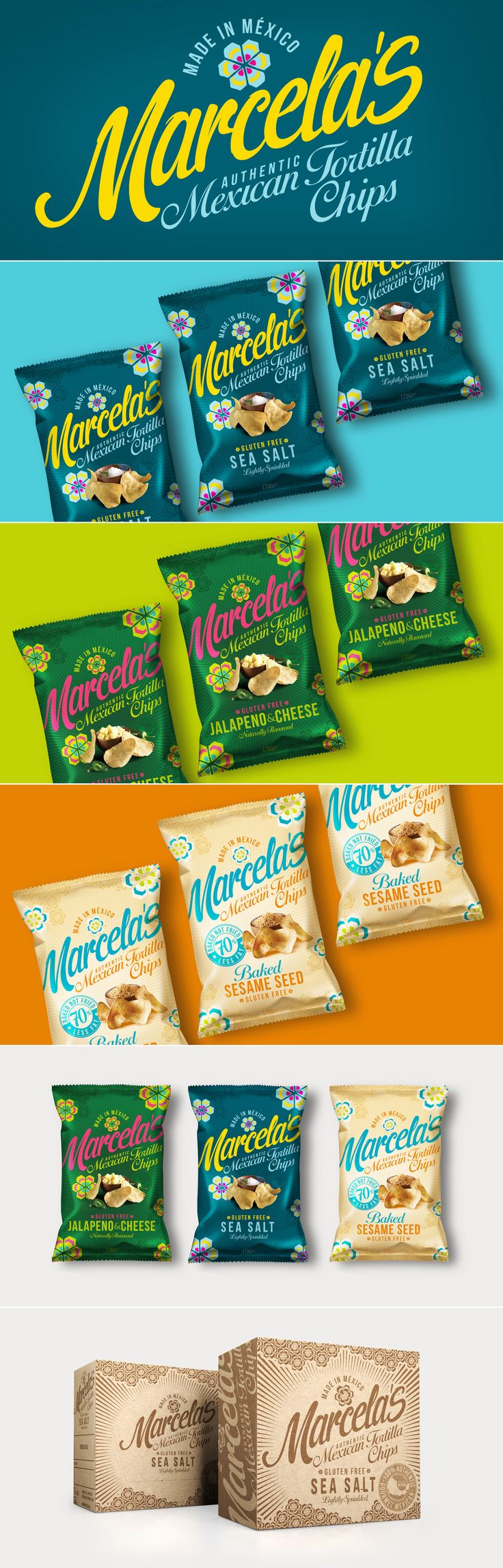 Marcela Flores Mexican Tortilla Chip Packaging designed by Design Happy, a strategic packaging & branding design agency based in Kingston Upon Thames, UK. http://www.designhappy.co.uk