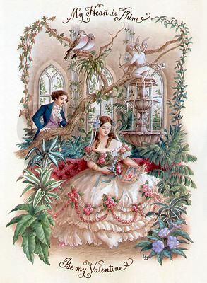 Victorian Valentine Card. love the dress!