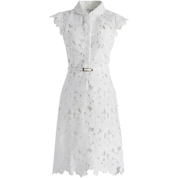 Chicwish Full Flower Cut Out Midi Dress (2,350 THB) ❤ liked on Polyvore featuring dresses, white, white knee length dress, belted dress, white shift dress, midi dress and white cut out dress
